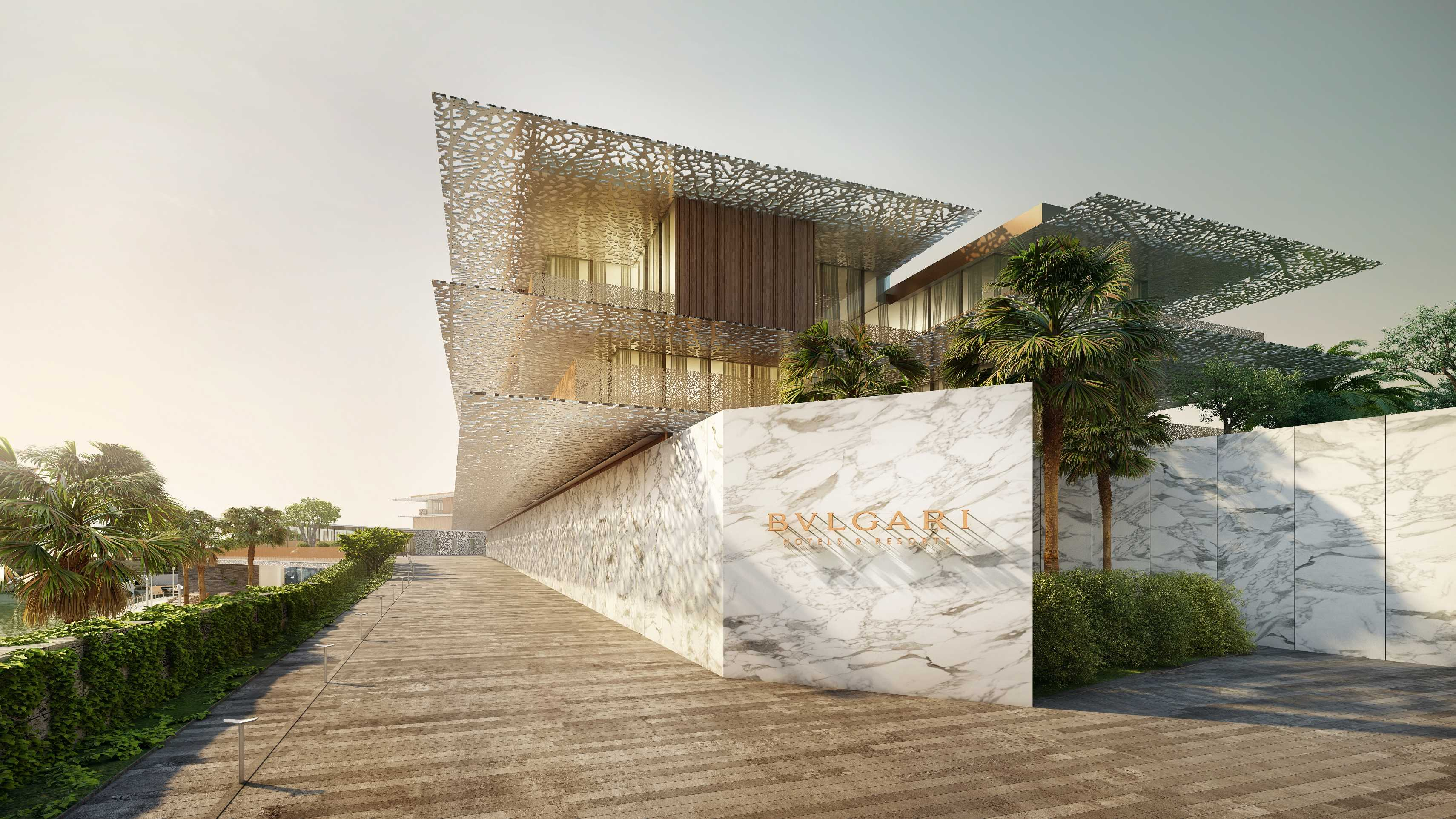 Gulf construction online fifth bvlgari hotel for Ec harris dubai