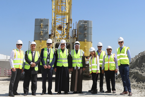 Bahrain Marina officials at the project site.