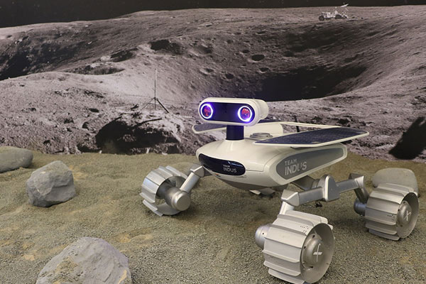 An exact replica of the advanced lunar rover built by<br>TeamIndus