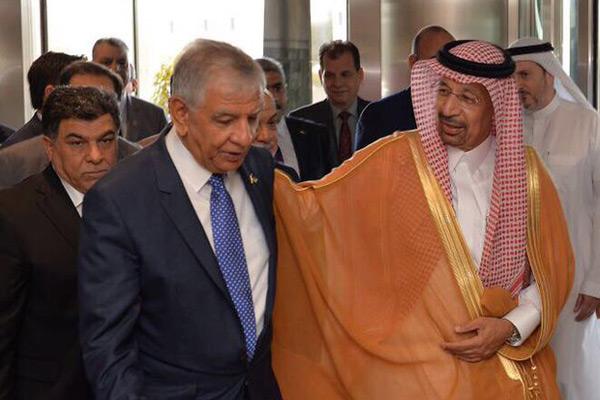 Khalid Al-Falih (right) with Jabar Al-Luaibi. Image: Twitter