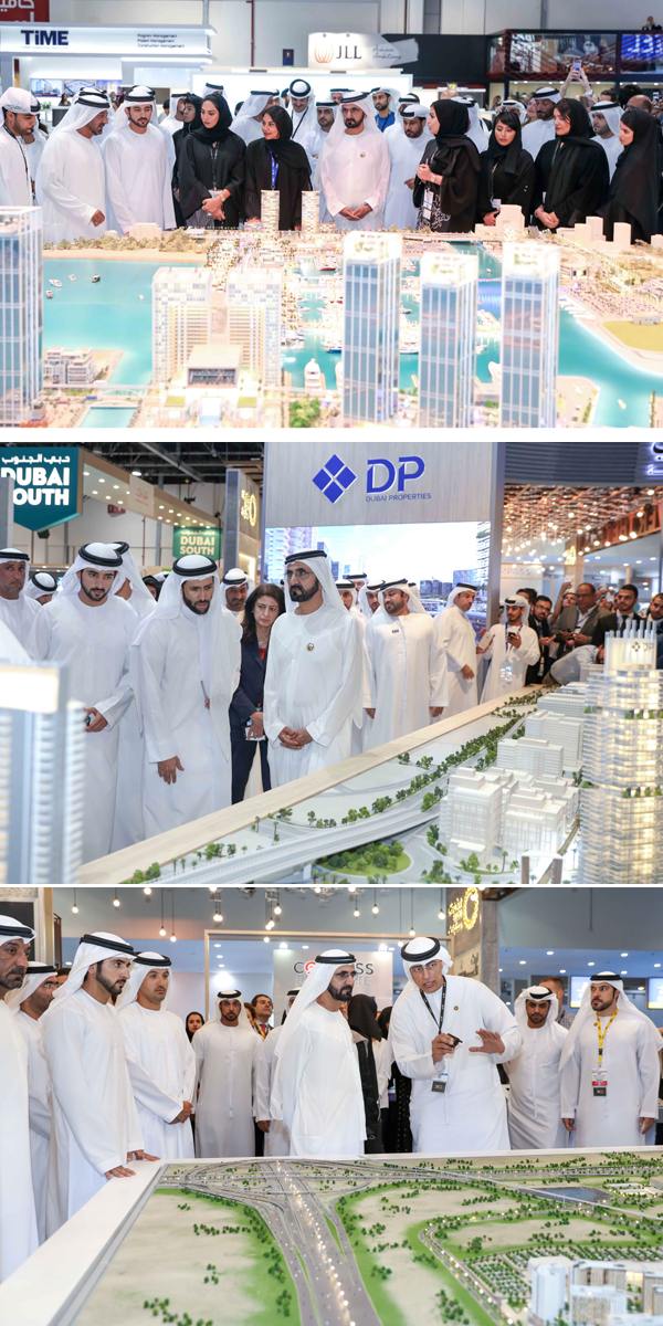 Sheikh Mohammed gets a briefing on various projects at Cityscape.