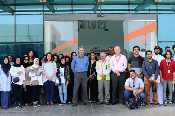 APM Terminals Bahrain team with students from<br>Bahrain Polytechnic
