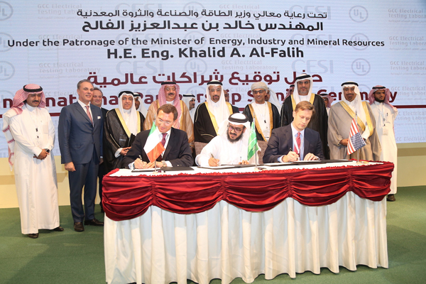 UL, GCC officials sign the agreement in the presence of oil minister Al Falih.