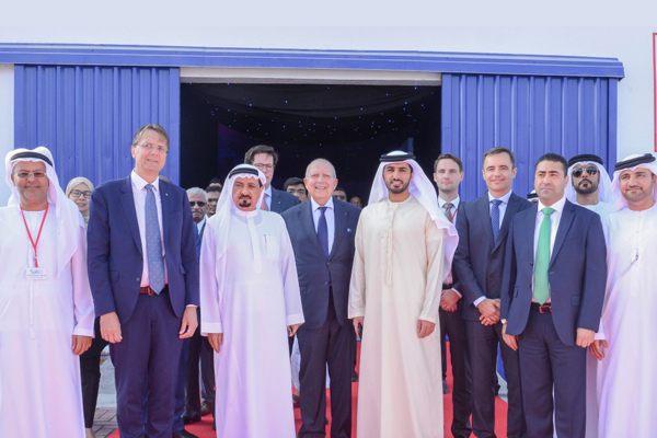 Sheikh Humaid along with Besix officials at the launch ceremony.
