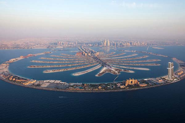 An aerial view of Nakheel's Palm Jumeirah development.