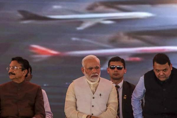 Modi and other dignitaries at the foundation-laying ceremony. (Getty Images)