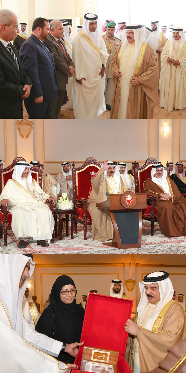 HM King Hamad joins HRH Premier and HRH Crown Prince at the opening ceremony.