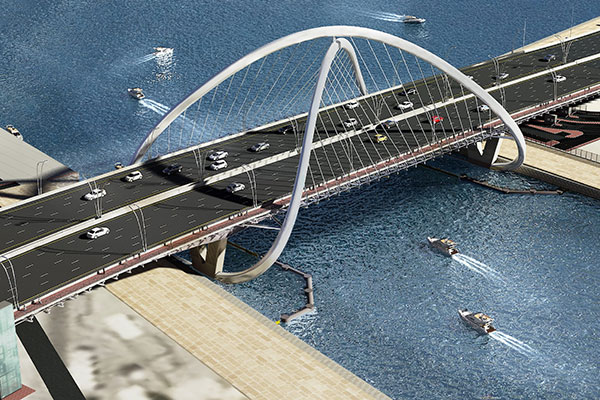 The 295-m bridge will rise 15.5 m above the Dubai Creek.