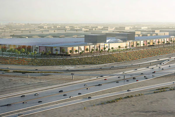 An artist's impression of what the new 3 million-sq-m<br>'Trader's Market' in DP World's flagship Jebel Ali Free Zone<br>will look like.