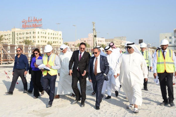 Khalaf along with senior officials at the Sadaa project site.