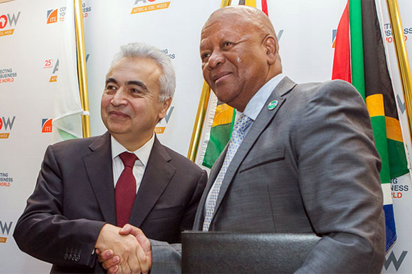 Dr Fatih Birol (left) and Minister Jeff Radebe<br>Photo courtesy: IEA