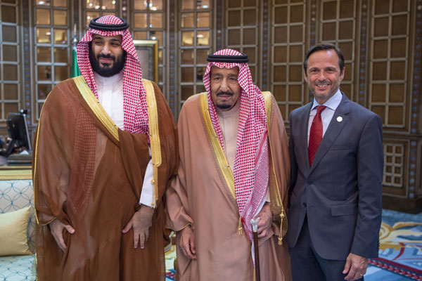 Pagano with King Salman and Crown Prince Mohammed bin Salman.