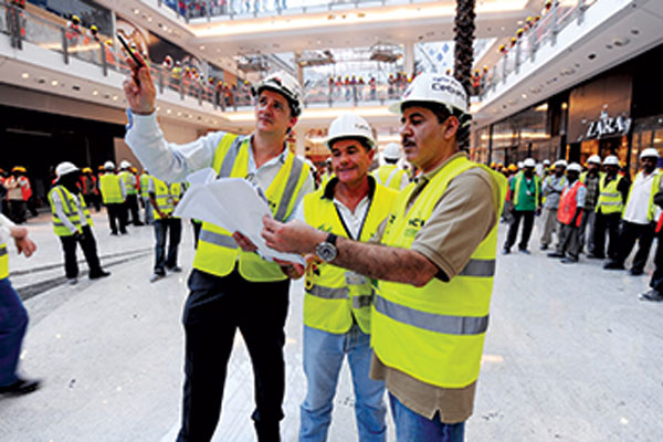 Hands-on CEO ... Abdulrahim at the City Centre Bahrain,br>project during its construction.