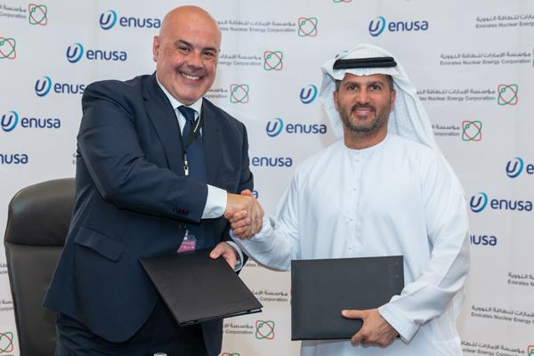 Al Hammadi (right) with Berlanga at the signing ceremony.