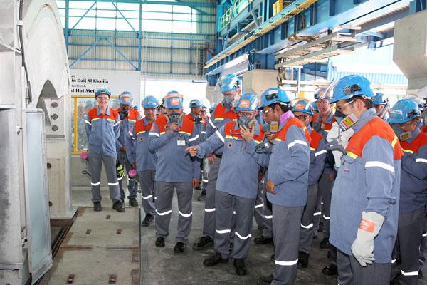 Shaikh Daij during the Line 6 inspection at Alba plant.